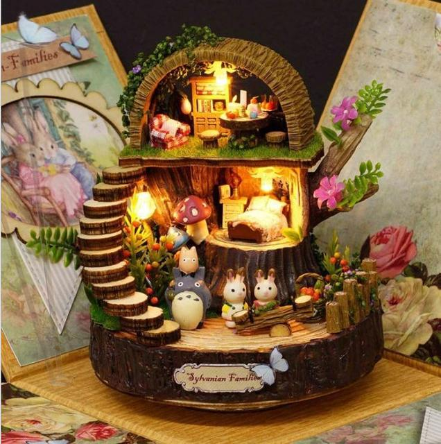 DIY Assembled Resin Anime Cottages Music Box My Neighbor Totoro Birthday Gift Fantasy Forest Candy Cat