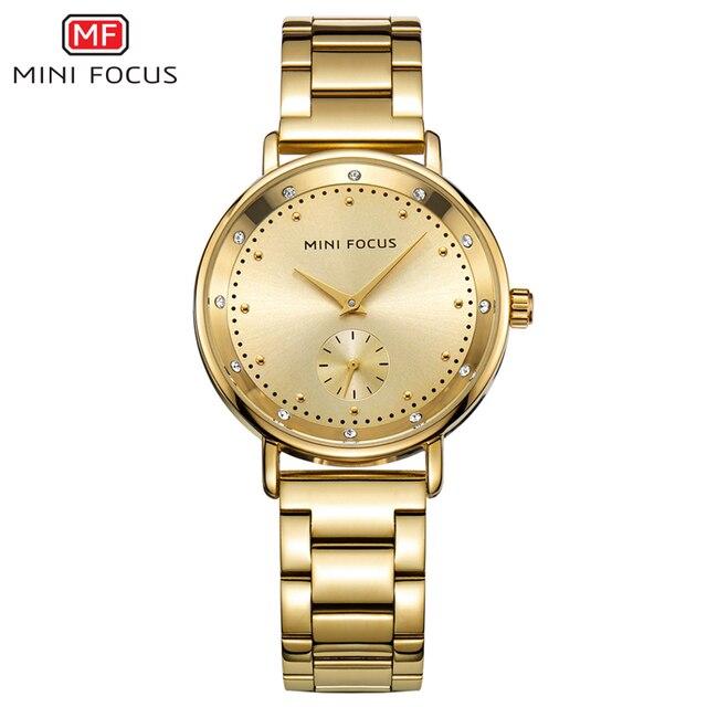 a5367b2410e MINIFOCUS Luxury Brand Watches Women Quartz Wristwatch Waterproof Gold Lady  Watch for Woman Clock Relogio Feminino Montre Femme