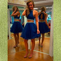 Two Pieces Royal Blue Cocktail Dress 2016 Tulle Homecoming Graduation Dress