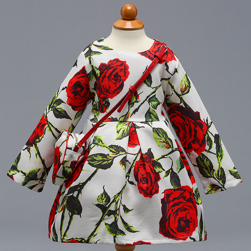 Retail High Quality Rose Elegant Little Girls Autumn Spring Long Sleeves Party Dress With Bag Girls Cotton Causal Dress L-390 uoipae party dress girls 2018 autumn