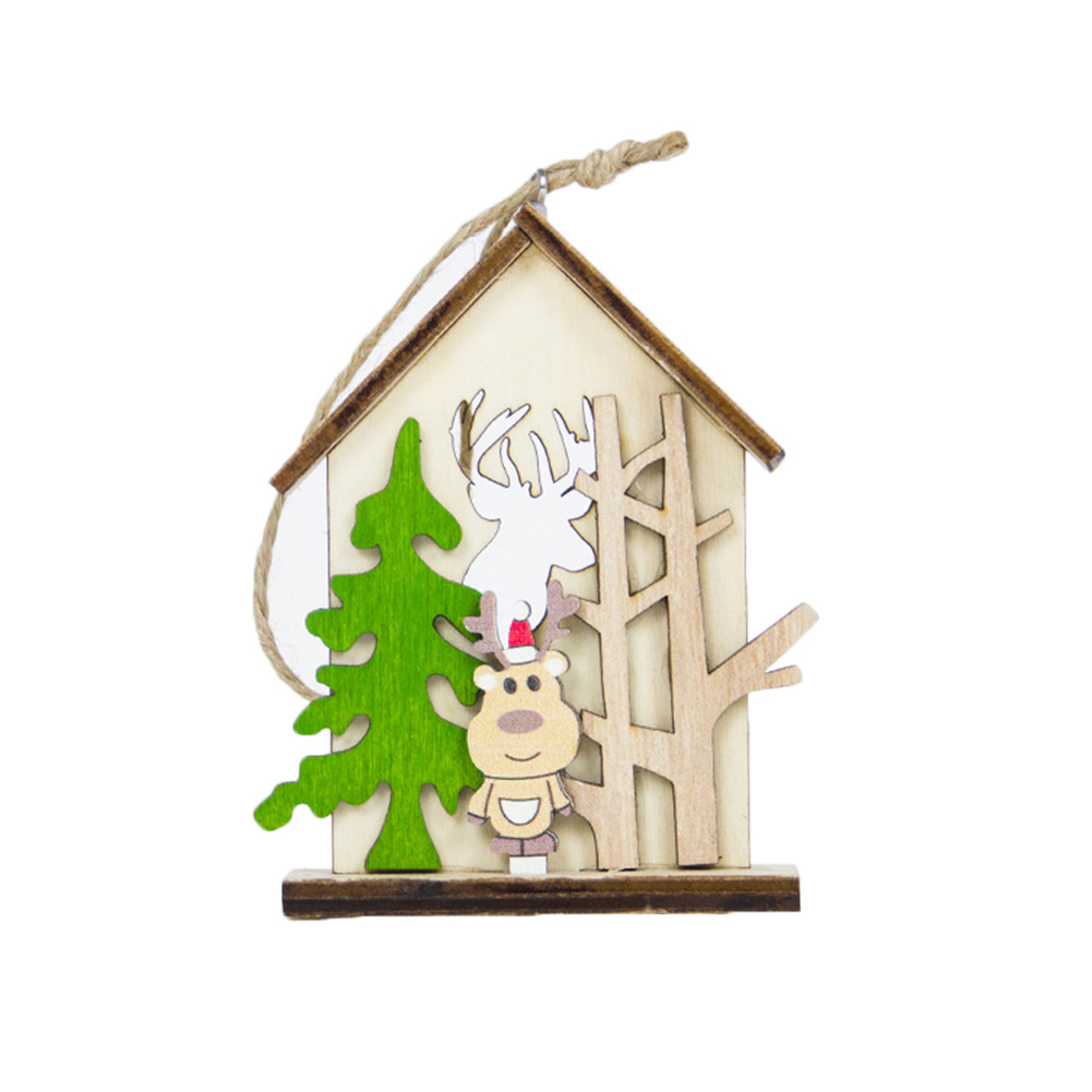 HOT Wooden House Hanging Decoration Ornament Pendant For Christmas Tree Party Home TI99 image