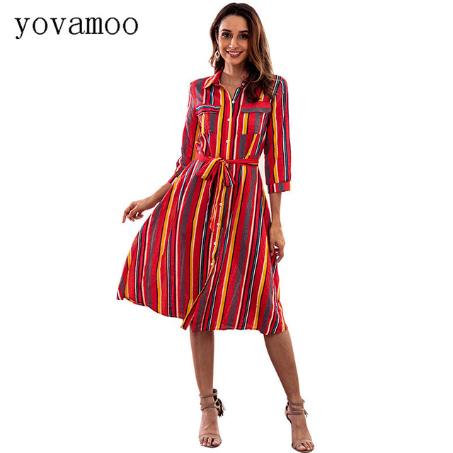 41e8f893541f Yovamoo Colorful Striped Print Dresses Vintage Loose Casual Fashion Button  Front Multicolor Midi 2018 Autumn Gatsby Dress Women
