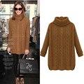 ropa mujer invierno 2015 sweater Sección larga del suéter del suéter del otoño y el invierno de las mujeres de las  suéter de cuello alto femenino retro mujer suéter grueso