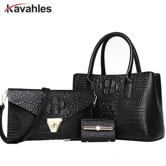 crocodile  Women Bag Set 3 Pieces Women Handbags and Purses 2017 Female Tote Bag and Wallet  luxury brand bag A40-329