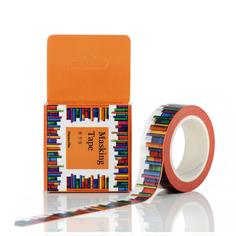 1.5CM Wide Amazing Library Books Washi Tape DIY Scrapbooking Sticker Label Masking Tape School Office Supply