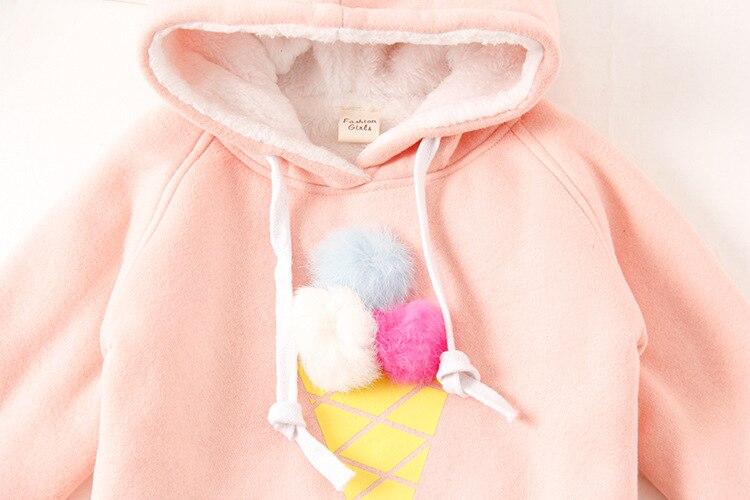 Baby Girl Sweatshirt Long Sleeve Tops Icecream Pompom Shirt Cotton