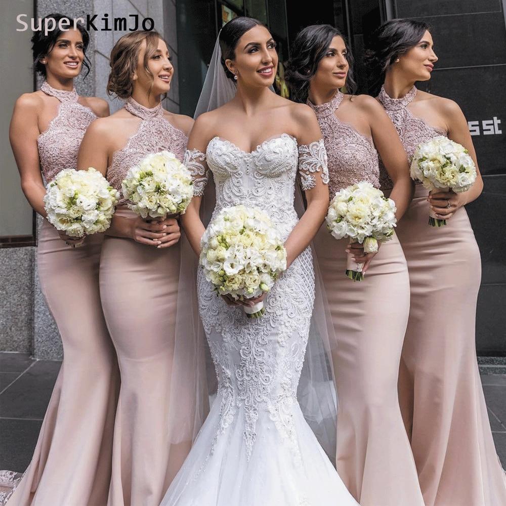 SuperKimJo Lace Applique Bridesmaid Dresses Mermaid Long Elegant Custom Wedding Party Dress Vestido De Madrinha