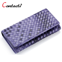 CONTACT'S Genuine Leather Wallet quality Leather Long Fashion Women Wallets Female Purse Lady Card Holder Weaving Long Clutch