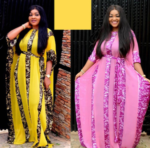 Image 2 - African Dresses For Women Dashiki Snake Pink African Clothes Bazin Broder Riche Sexy Slim Ruffle Sleeve Robe Evening Long Dress