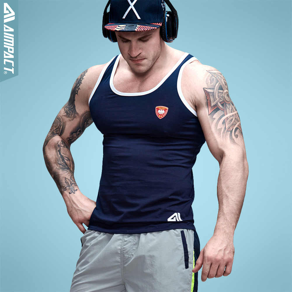 Aimpact Cotton Mens Tank Tops Slim Fitted Bodybuilding Xman Muscle Police Fitness Tighs Sexy Crossfit Workout Tees AD27