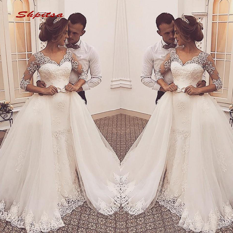 2 In 1 Lace Wedding Dresses Long Sleeve Turkey Tulle Plus Size Bride Bridal Weding Weeding Dresses Wedding Gowns