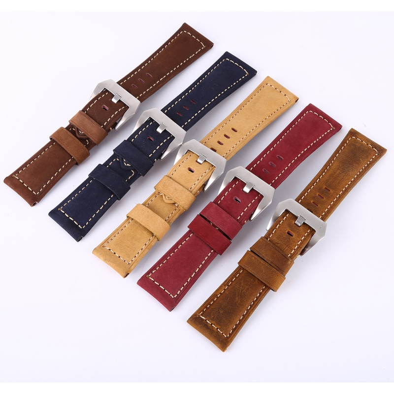 20 22 24 26mm Men Women Leather Watchbands Watch Band Strap for relogio Belt Stainless Steel Buckle zlimsn thick genuine leather watch band 20 22 24 26mm strap belt replacement stainless steel skull buckle relojes hombre