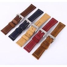 20 22 24 26 мм Для мужчин Для женщин кожа Ремешки для наручных часов часы ремешок для Relogio ремень Нержавеющаясталь пряжка