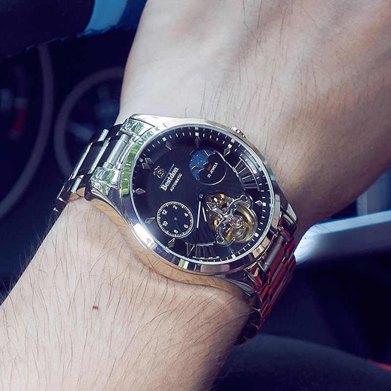 Suíça relógio mecânico automático masculino bestdon marca de luxo tourbillon relógios aço completo à prova dwaterproof água relogio masculino 7113g
