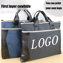 1PCS Document Bag Oxford Cloth Briefcase Business Men Ladies Portable A4 Double Zipper PU Leather File Data Package