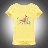 2017 New Women T Shirt Summer Short Sleeve Bird Print Tops Tees Ladies Short Sleeve Shirts