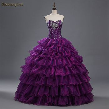 0f9120d0a27 2016 Purple Cheap Quinceanera Dresses With Jacket Sweethert Crystals  Orgabza Ball Gown Vestidos De 15 Anos