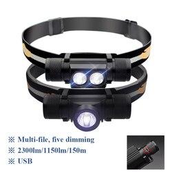 XML L2 мини фонарик налобный LED Cree налобный фонарь 18650 USB зарядка Водонепроницаемый фонарь фонарик на голову лоб светодиодные фонари 6 Режим фар...