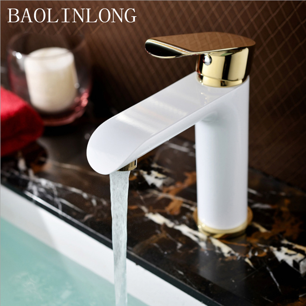 BAOLINLONG Baking Finish Style Brass Deck Mount Basin Bathroom Faucet Vanity Vessel Sinks Mixer faucets Tap