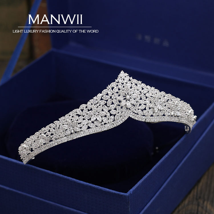 MANWII All high-end AAA zircon tiaras and crowns Bride jewelry Wedding Dress Wedding hair accessories women princess HD2055