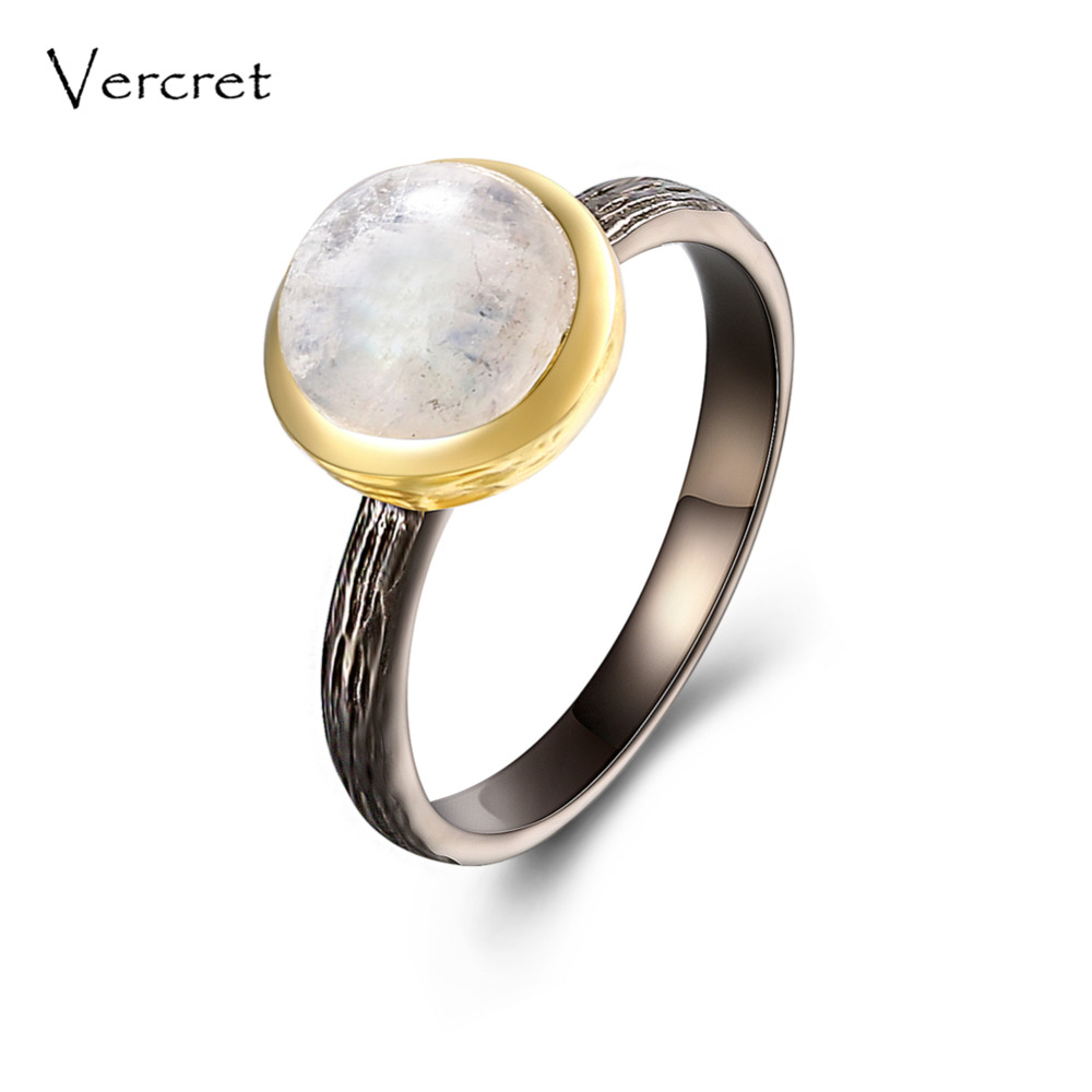 Vercret rainbow moonstone rings handmade 925 sterling silver 18k gold ring jewelry for women gifts