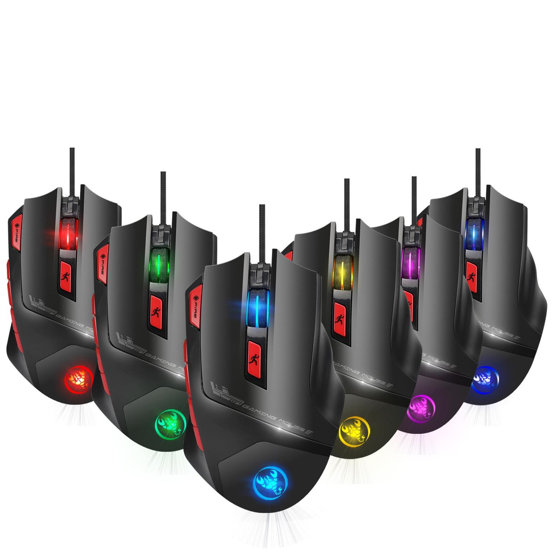 Hongsund Programmable Gaming Mouse 9 key illuminable mouse up to 6000 dpi RGB Backlit USB Wired Optical Gamer 2