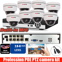 8ch H.265 POE 1080P 2MP audio PTZ Dome IP Camera 5X Zoom Outdoor Onvif Speed Dome CCTV Security Camera KIT with 8ch POE NVR