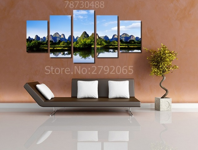 5 pieces castle peak green water different landscape unframed modern canvas painting wall art for living