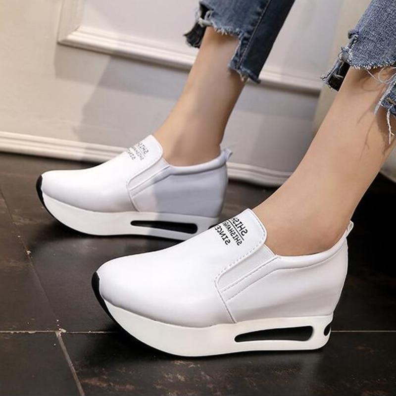 Plataforma Negro Oculta Mujeres Zapatillas Confort 2018 Zapatos Plataformas Blanco zapatos Negro Mocasines Wsn717 blanco Talón Otoño Covoyyar Ocasionales Hqx1Y0a