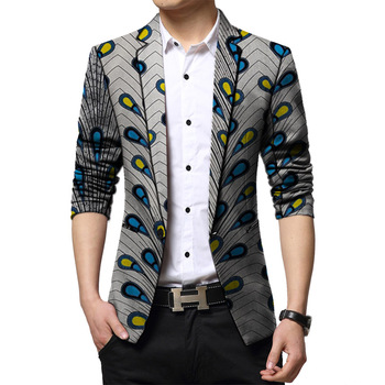 цена African clothing men's blazers Ankara print slim fit jacket male blazers business design men coat wedding suit jacket онлайн в 2017 году