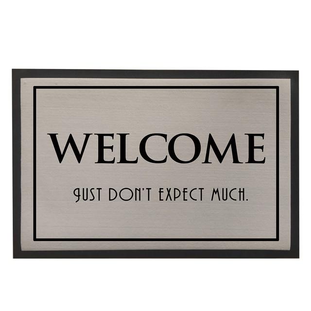 Welcome Doormat,Rubber Flooring Door Mat For Entrance Door,Grey Kitchen  Carpet,Vintage