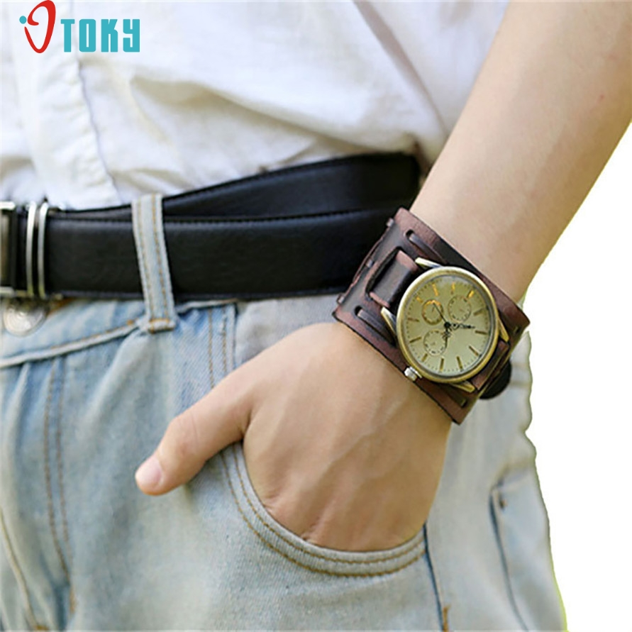OTOKY Willby Style Retro Punk Rock Brown Big Wide Leather Bracelet Cuff Men Watch Cool 161222 OTOKY Willby Style Retro Punk Rock Brown Big Wide Leather Bracelet Cuff Men Watch Cool 161222 Drop Shipping ZYQ