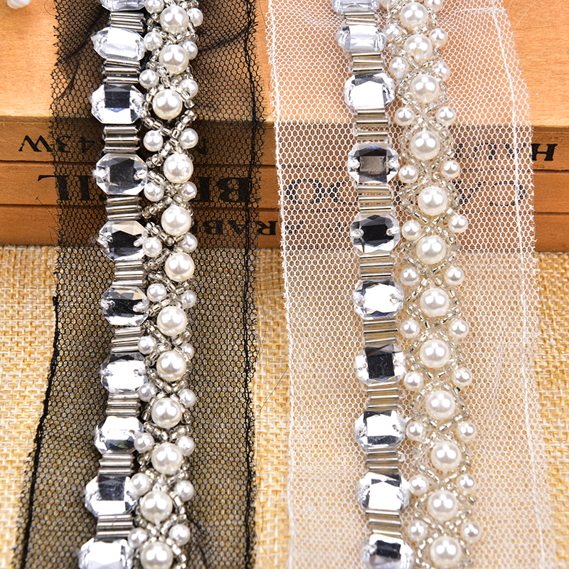 Decoration and Craft Making Silver Color, 9 Meter Rhinestones Ribbon Trim Laces for Embroidery
