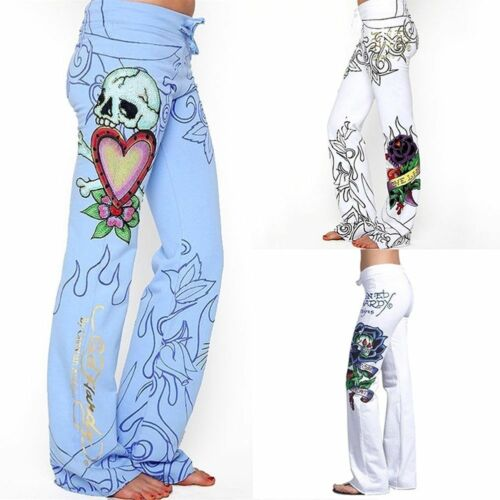 Plus Size Fashion Women Baggy Skull Rose Printed Pants Slim Hippie Wide Leg Boho Printed Comfortable High Waist Trousers