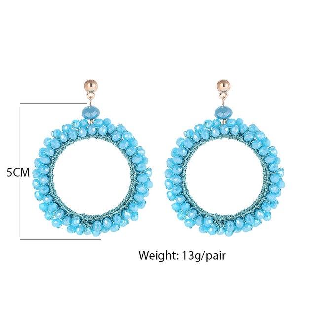 Купить женские серьги с бусинами inkdew синие круглые большие длинные