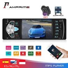 AMPrime Radio Digital 4022D de 4,1 pulgadas para coche, Radio de coche 1Din, compatible con USB, AUX, FM, BT, Control remoto del volante con cámara de marcha atrás