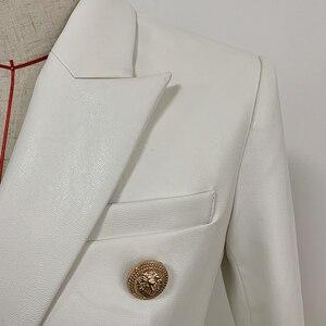 Image 3 - Nouvelle collection automne hiver 2020 veste Blazer femme boutons métal Lion Double boutonnage cuir synthétique Blazer pardessus