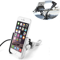 Universal Waterproof Motorcycle 360 Degree Rotation Side Mirror Holder Mount Phone Holder With USB Charger For iPhone X 8 7 6s 6