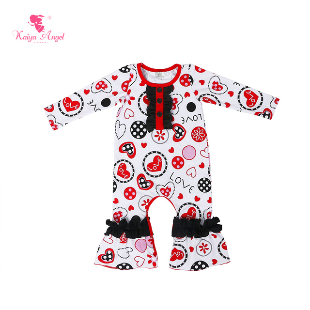 563c2c2ef Kaiya Angel Unisex Baby Clothes Newborn Valentine's Day Pajamas Girl Romper  Long Sleeve First Birthday Boy Outfit wholesale