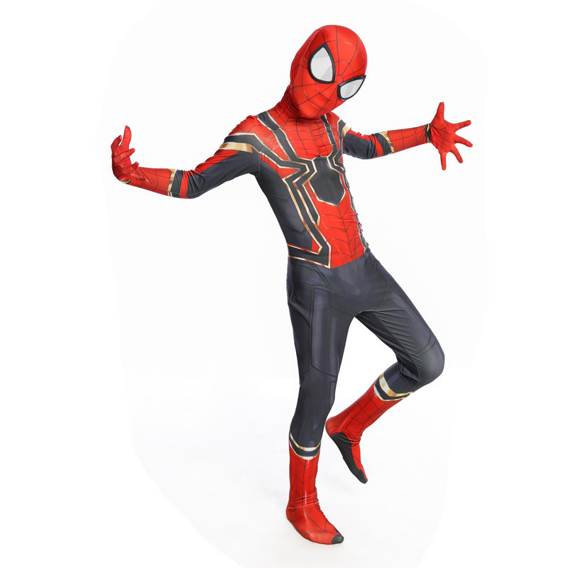Anime Movie Spider-Man Homecoming Cosplay Costumes Kids Adult Iron Spider Man Spandex Zentai Jumpsuits Bodysuits Suit New 2019
