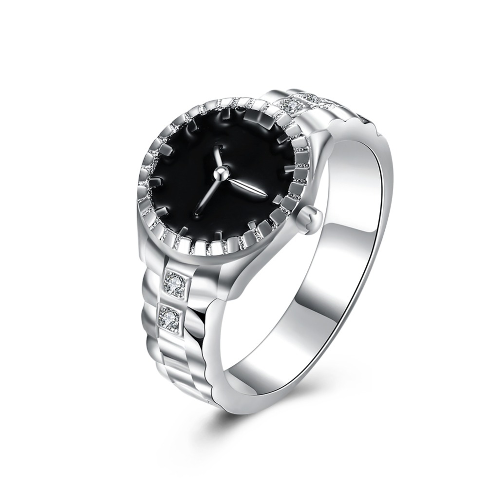 Julegave for kvinner jente Watch stil ring Lovely Wedding party sølvbelagt ring Søt edel mote klassisk smykker R887