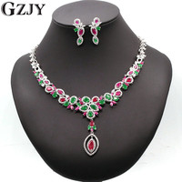 GZJY Luxury Bridal Jewelry Gold Color Red&Green AAA Zircon Necklace Earring Jewelry Set For Women Wedding Party I04 1