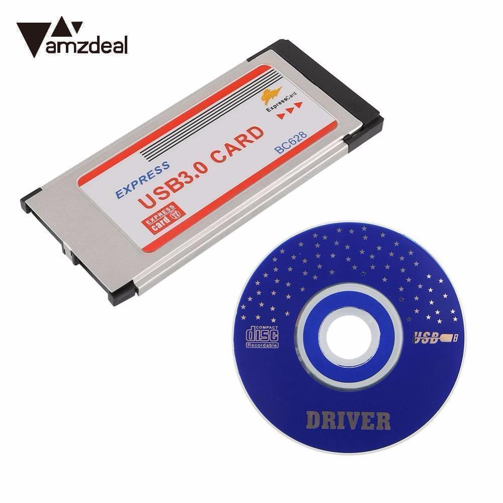 AMZDEAL 2019 NEW Super-Speed Express Card ExpressCard 34mm To Dual 2 Ports USB 3.0 Card BC628 For Laptop Notebook
