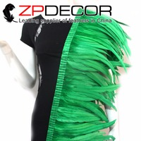 ZPDECOR Wholesale 1yard/lot 30 35CM(12 14inch) Dyed Kelly Green Chicken Tail Feather Fringe Trim for Carnival Costume Decoration