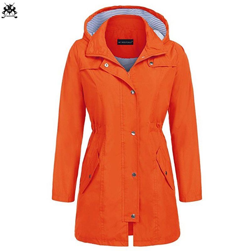 Free shipping 2018 Autumn Fashion New Womens New waterproof Coats Medium Long Casual Hooded Coats Female Slim   Trench   outerwear