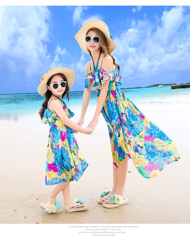 Summer mother daughter dresses sleeveless dress woman girl shoulder-straps dress