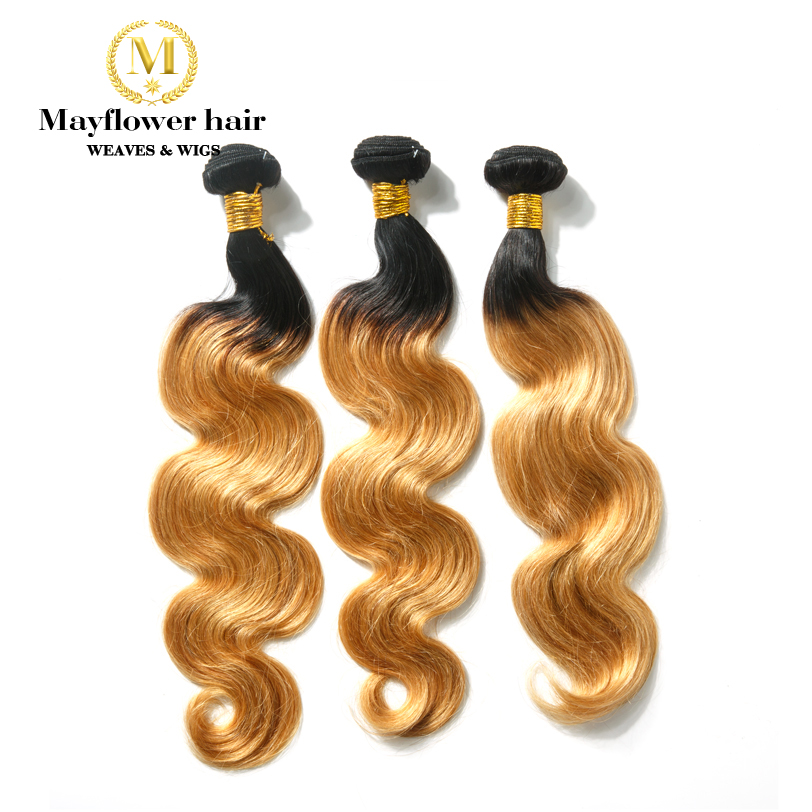 Mayflower Two Tone Color 1B/27 Brazilian Body Wave Remy Human Hair Weft 1/2/3/4 Bundles 12-24