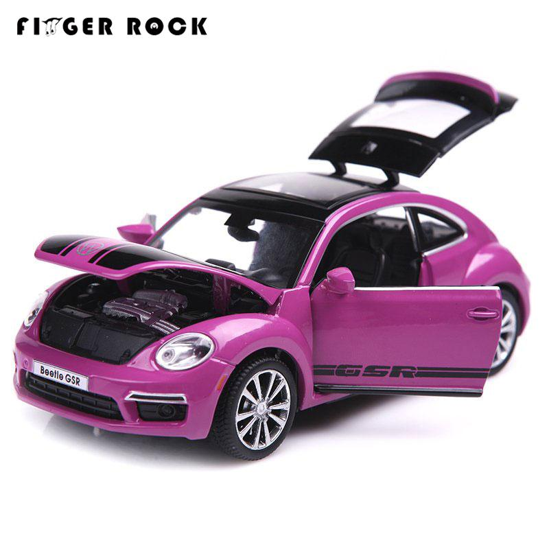 Limited Edition Volkswagen Beetle Model 1:32 Diecast Autos Three Colors Acousto-optic Alloy Toy Metal Cars Best Gift for Kids