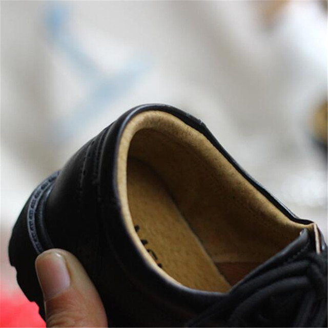 New Boys Girls Genuine Leather Performance shoes Baby Children British style Black Dress Leather Shoes Student Toddler Kids 019