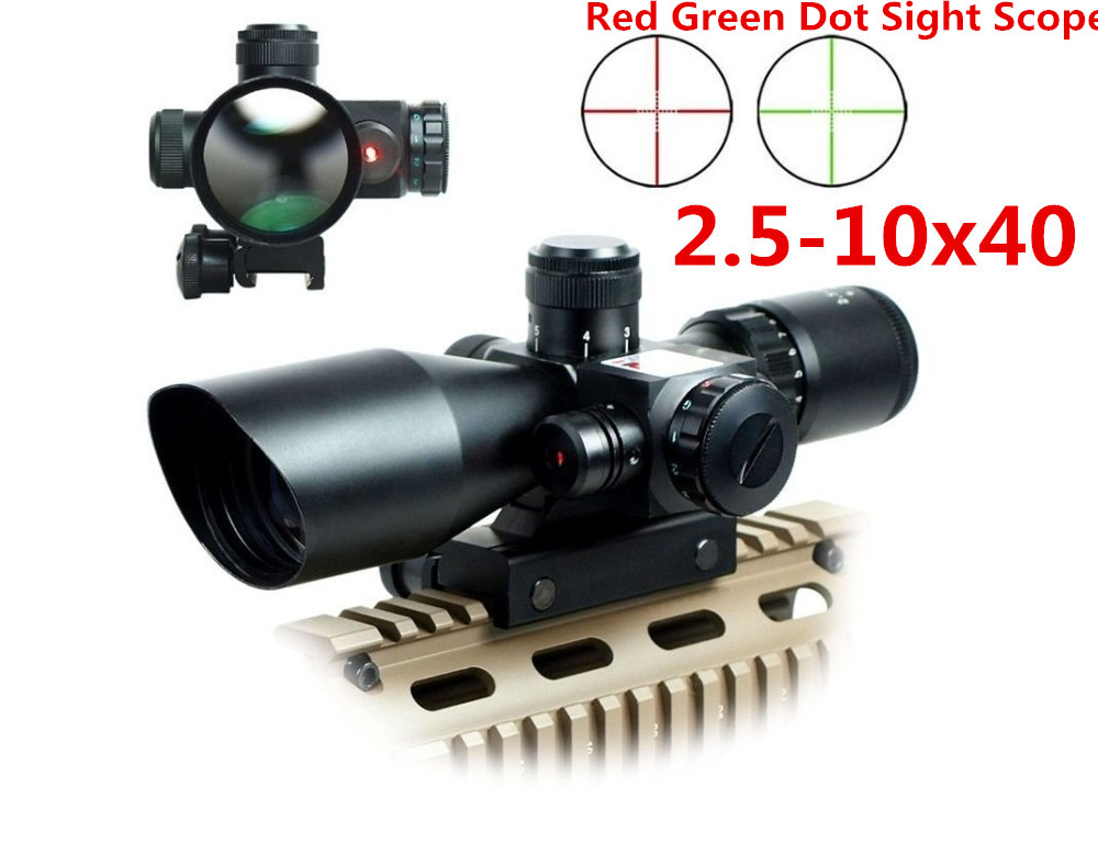 Tactical 2 5 10x40 Riflescope Red Green Dual illuminated Mil dot Rifle Scope with Red Laser